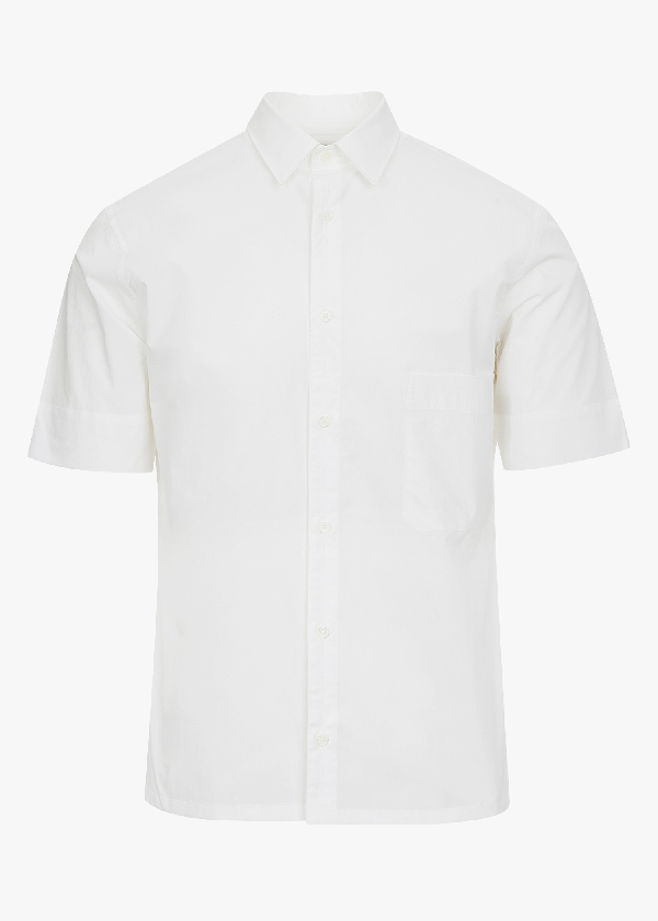 Lemaire Short Sleeve Straight Collar Shirt In Chalk
