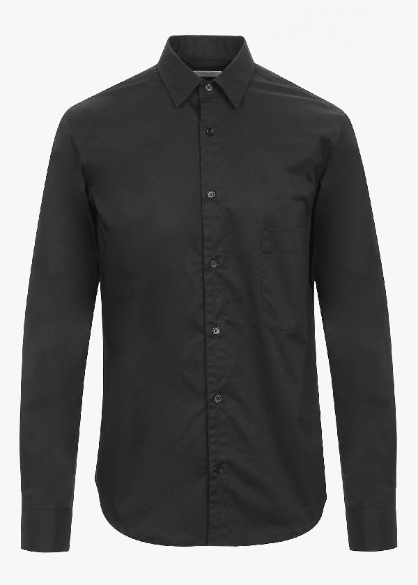 Lemaire Straight Colalr Shirt In Black