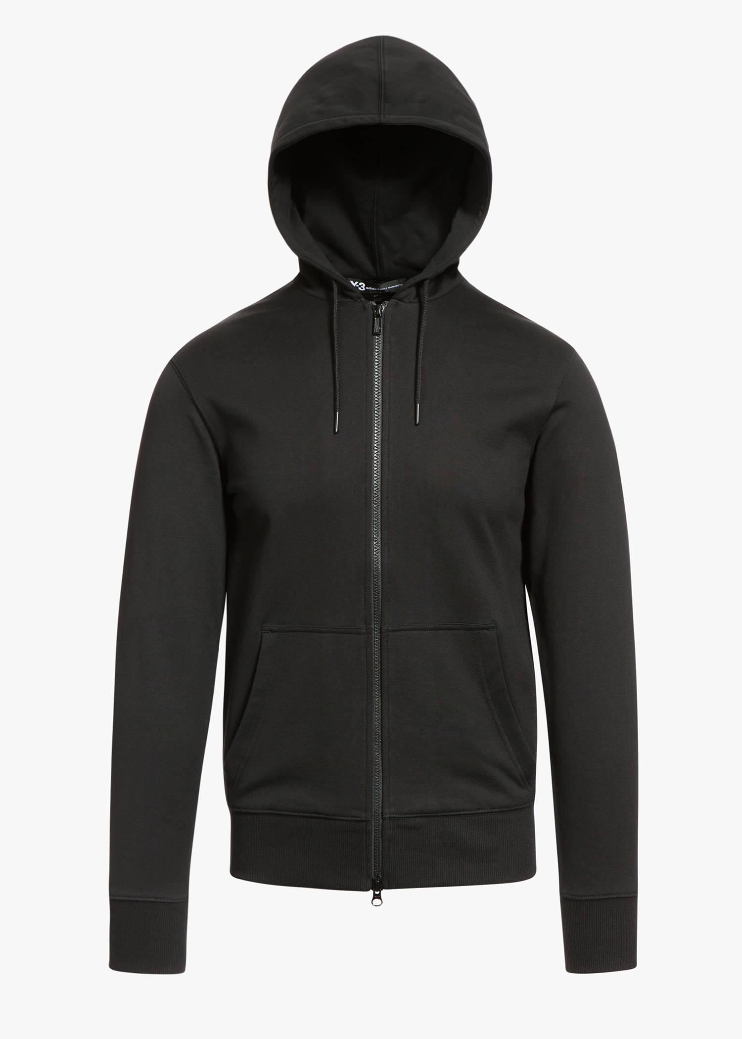 Y-3 Classic Sweat Zip Up Hoody In Charcoal Melange