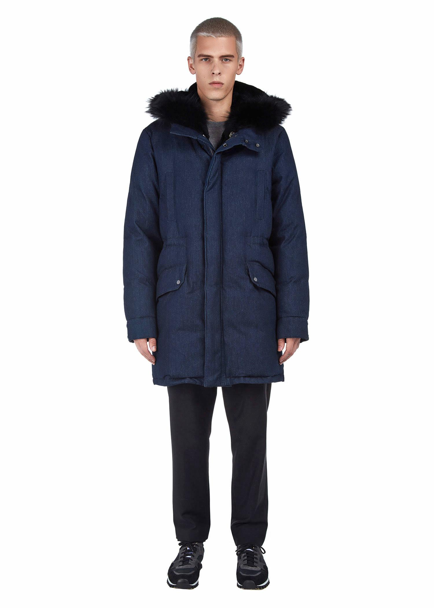 Yves Salomon Padded Denim Parka - Rabbit & Racoon Trim In A7040/Blue Denim