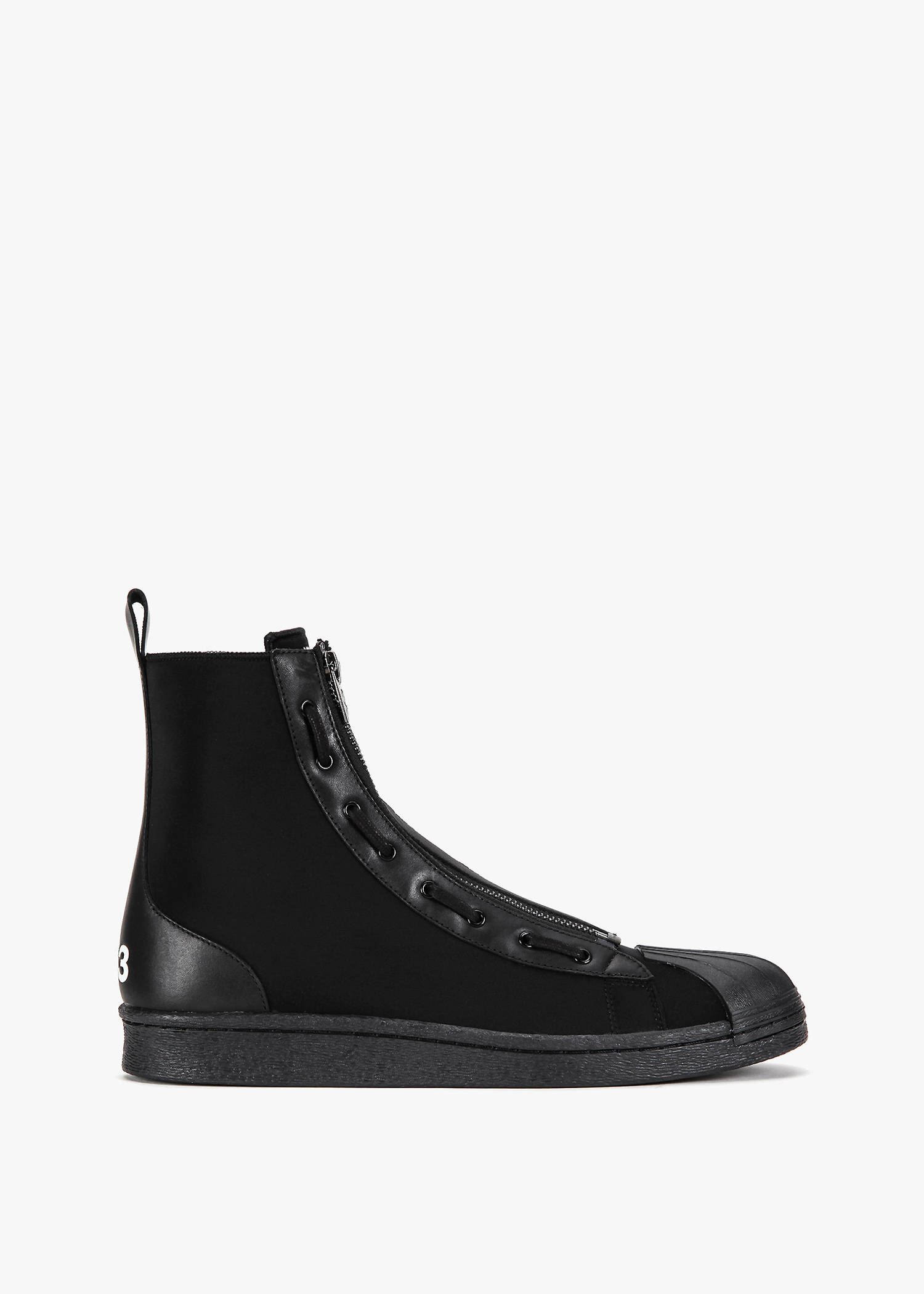 Y-3 Pro Zip High Top Sneaker In Core Black/Core Black/Core Black