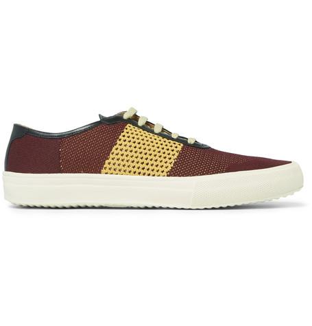 Dries Van Noten Leather-Trimmed Mesh Sneakers - Burgundy