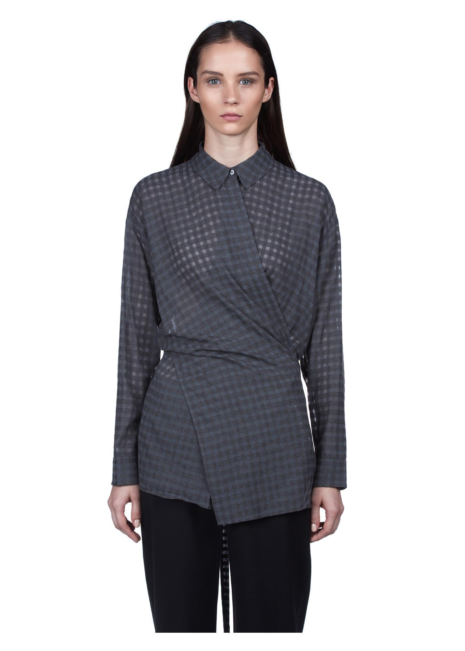 T By Alexander Wang Long Sleeve Wrap Tie Blouse In Heather Grey