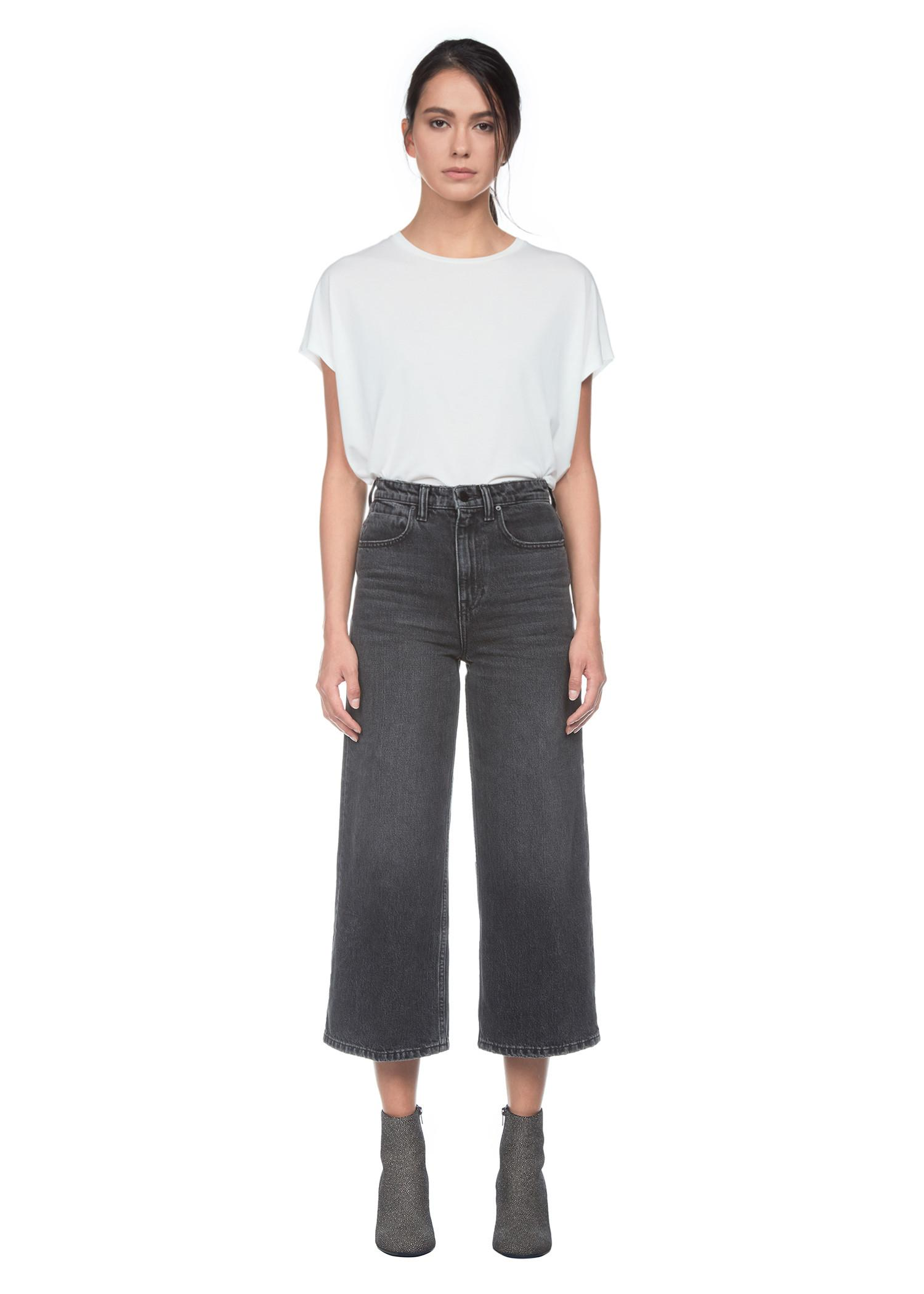 T By Alexander Wang High Rise Wide Leg Denim Pants In Grey Aged