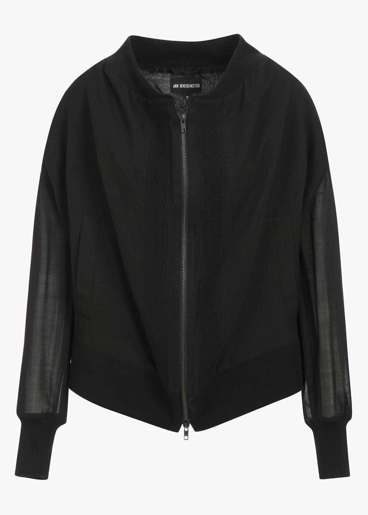 Ann Demeulemeester Fluid Collar Bomber Jacket In Black