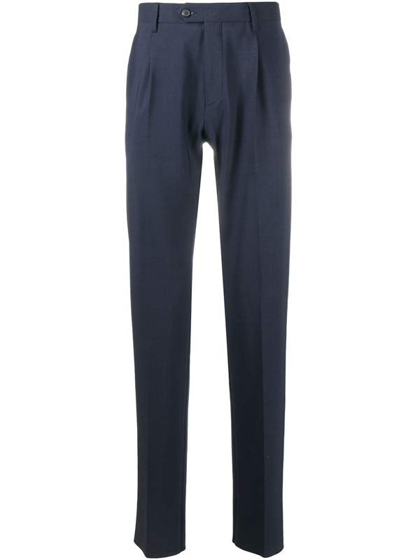 Traiano Milano Straight Leg Tailored Trousers In Blue