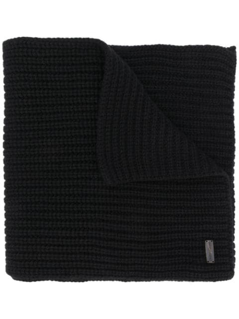 Iris Von Arnim Chunky Knit Scarf In Black