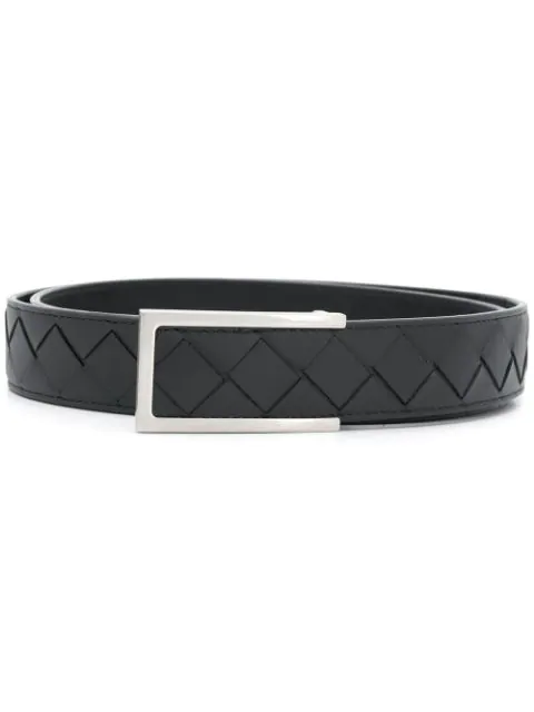 Bottega Veneta Intrecciato Belt In Black