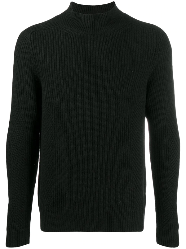 Iris Von Arnim Mock Neck Cable Knit Jumper In Black