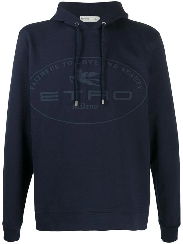 Etro Logo Print Cotton Hoodie In Blue