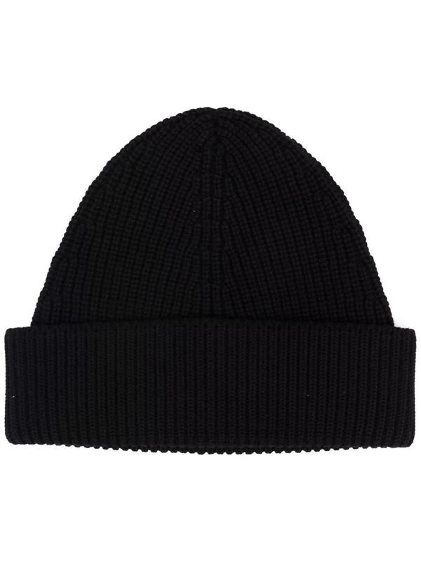 Maison Margiela Cotton & Wool Blend Beanie Hat In Schwarz