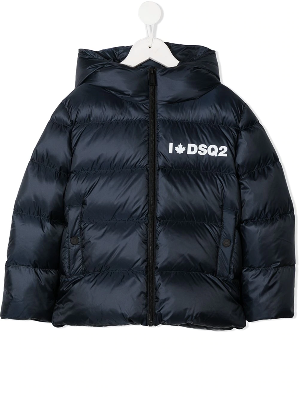 Dsquared2 Kids' Logo Padded Coat In Blue
