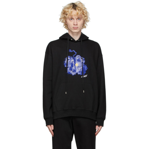 Ader Error Floral Embroidery Cotton Hoodie In Black