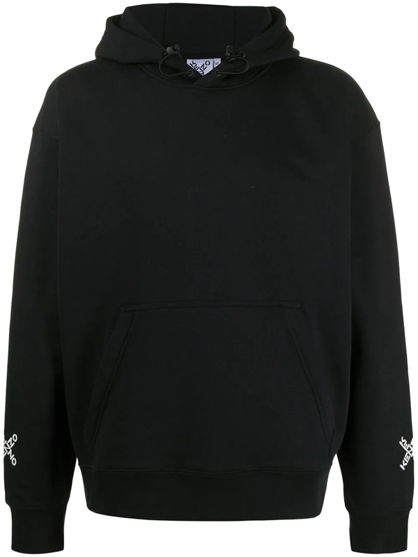 Kenzo Cotton Logo Print Hoodie In Black