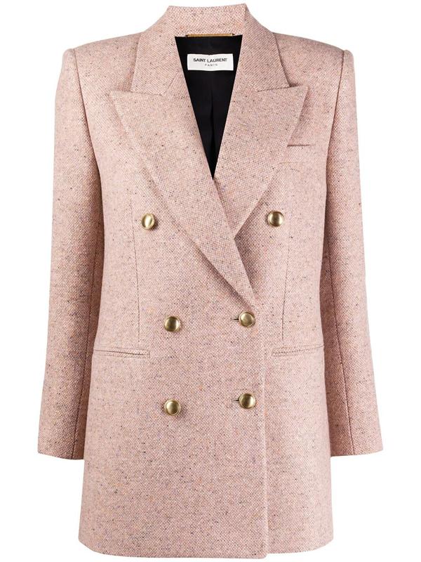 Saint Laurent Double Breasted Wool Tweed Jacket In Neutrals