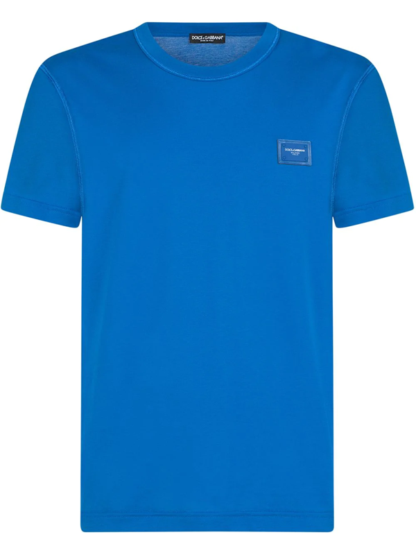 Dolce & Gabbana Cotton T-shirt With Logoed Plaque In Blue