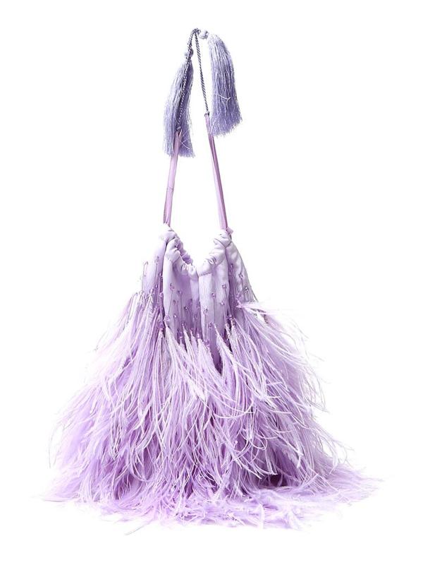 Attico The  Feathered Drawstring Handbag In Purple