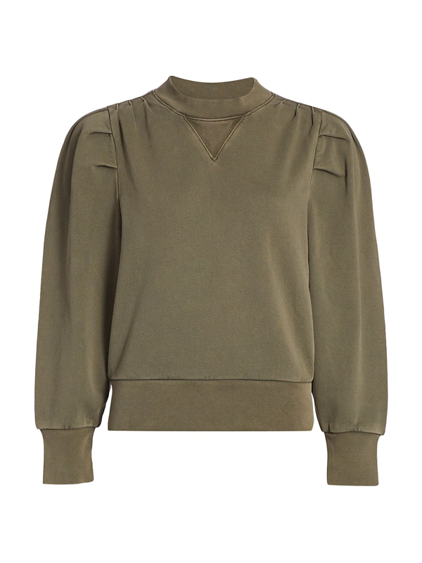 Frame Shirred Crewneck Sweatshirt In Olive/army