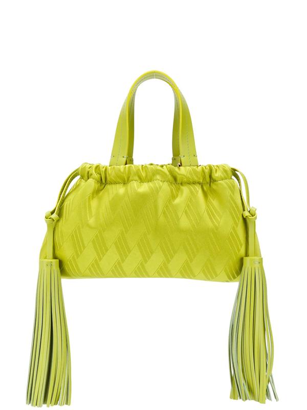 Attico Patterned Tassel Detail Mini Tote Bag In Green