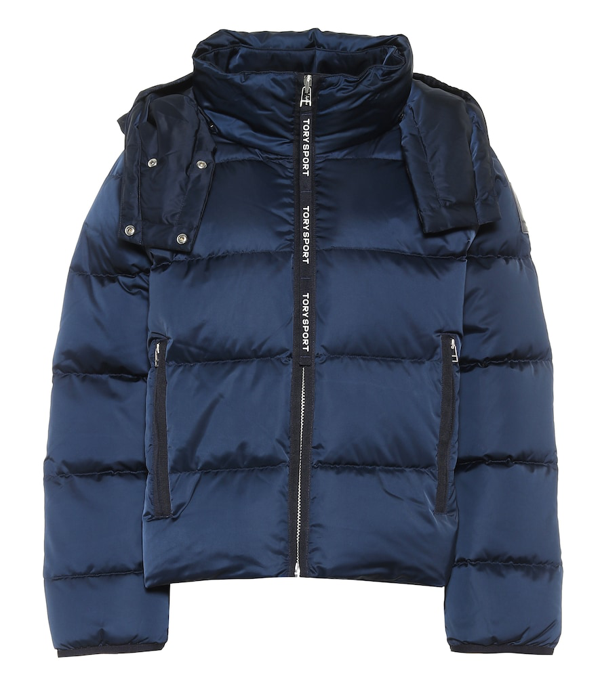 Tory Sport Cropped Performance Satin Down Jacket In Blue