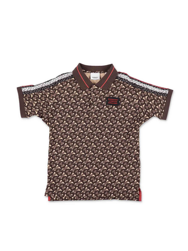 Burberry Kids' Archie Brown Polo Shirt In Marrone