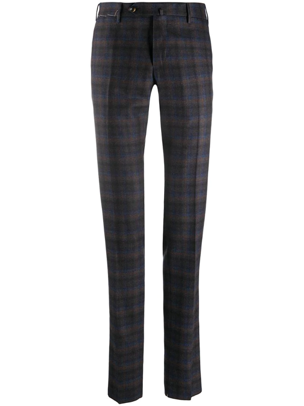 Pt01 Tartan Check Straight-leg Chinos In Blue