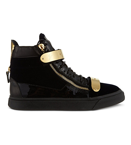 33dba08b4407e Giuseppe Zanotti - Velvet And Patent Leather Mid-Top Sneaker Coby In Black