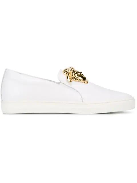 Versace Leather Slip-on Sneaker With Golden Medusa Head, White In D01o Whitegold