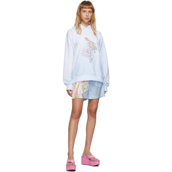 Im Sorry By Petra Collins Ssense Exclusive Blue And White Graphic Pullover Hoodie In Lt Blue/whi