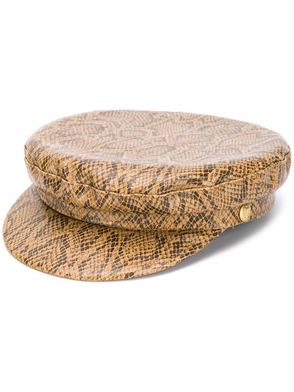 Manokhi Snakeskin-print Greek Fisherman Hat In Brown