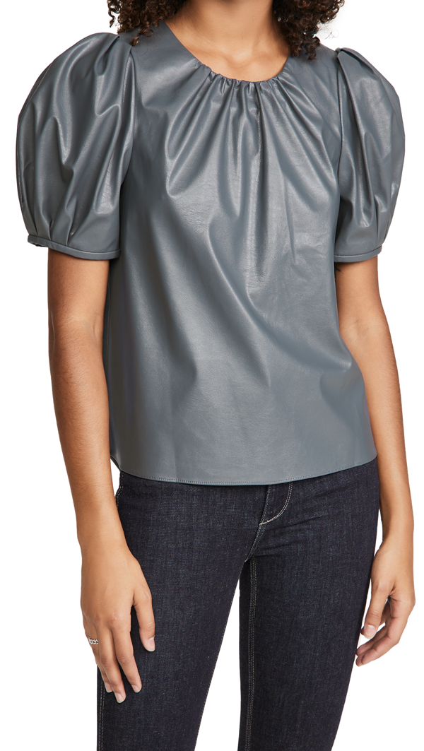 Tanya Taylor Women's Carol Faux Leather Short Puff-sleeve Top In Slate