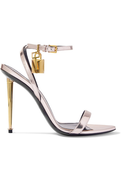 Tom Ford Metallic Ankle-Lock Sandal, Silver