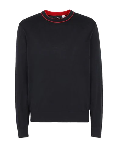 Ps By Paul Smith Ribbed Trim Sweater In Navy