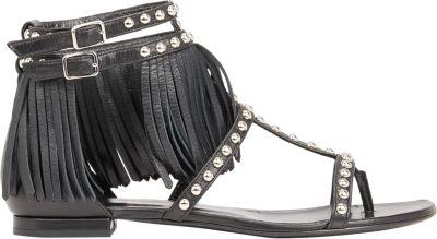 Saint Laurent 10Mm Nu Pieds Studded Leather Sandals In Black