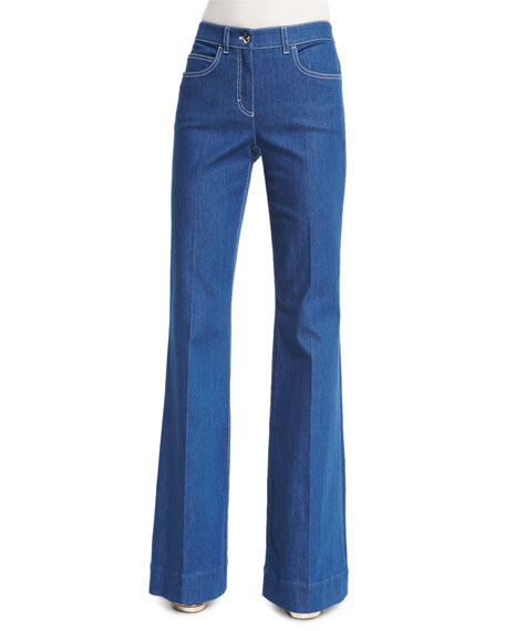 Escada Mid-Rise Wide-Leg Jeans With Contrast Topstitching In Medium Blue