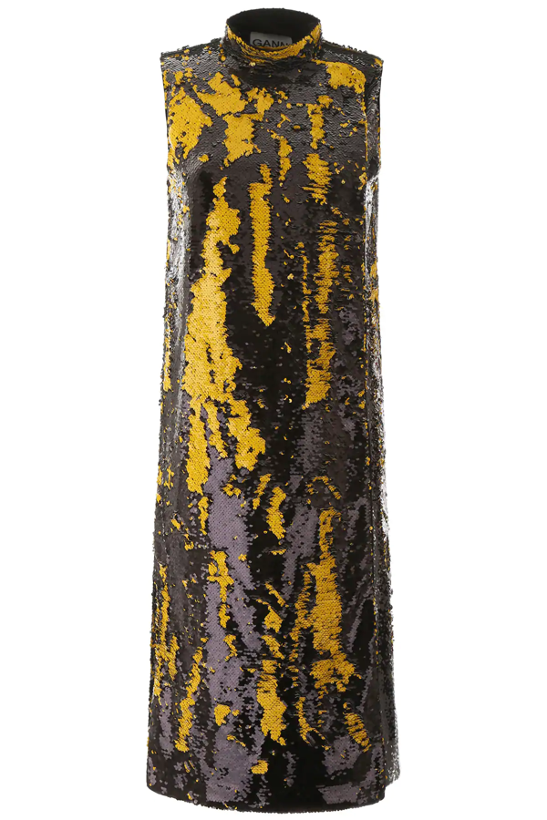 Ganni Sequined Midi Dress In Black,yellow