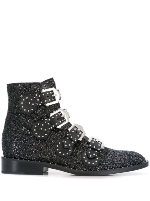 Givenchy Glitter Ankle Boots With Buckle Closure In Black