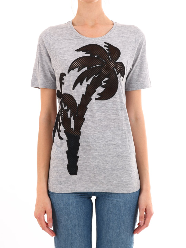 Dsquared2 Gray Cotton Palm T-shirt In Grey