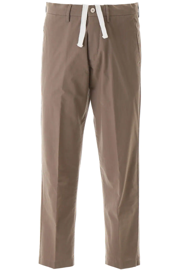 Pt01 Larry Cotton Trousers In Brown