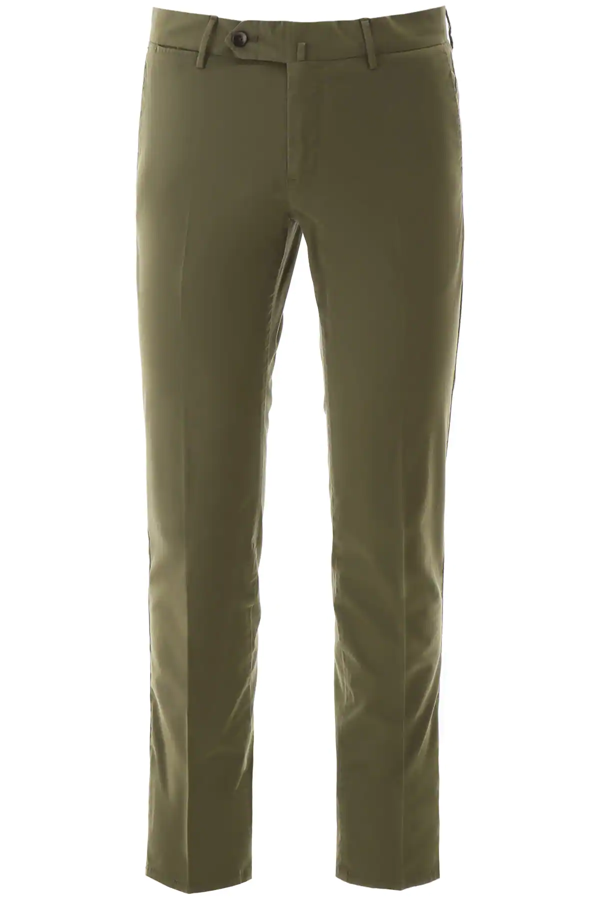 Pt01 Superslim Fit Cotton Pants In Khaki