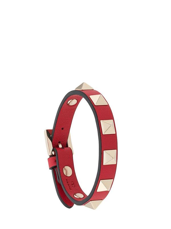 Valentino Garavani Rockstud Bracelet In Rosso