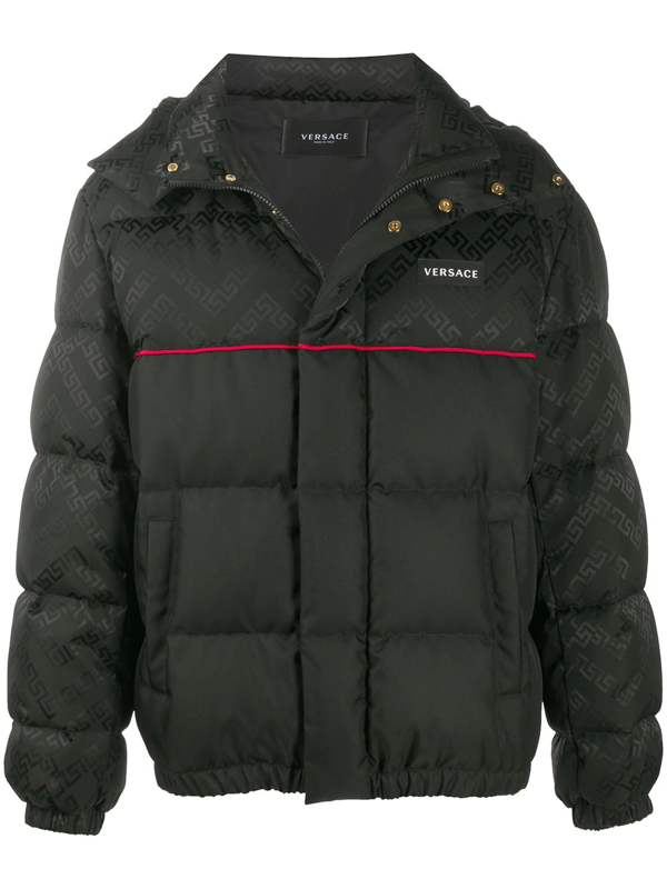Versace Greca Argyle Accent Padded Jacket In Black