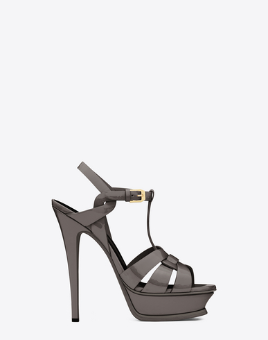 Saint Laurent Classic Tribute 75 Sandal In Earth Lizard Embossed Leather In Fog
