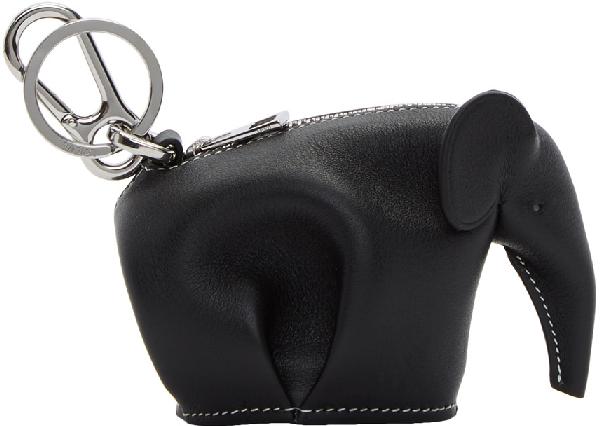 Loewe Black Elephant Charm Keychain