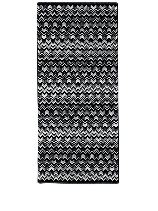 Missoni Keith Chevron-print Bath Mat In Black
