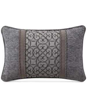 "Waterford Carrick Reversible 12"" X 18"" Embroidered Breakfast Decorative Pillow Bedding In Silver/antique Gold"