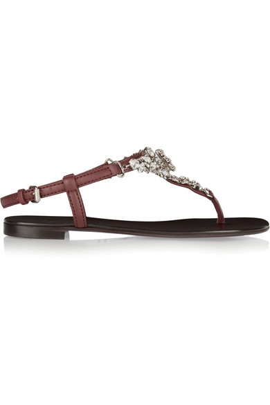 Giuseppe Zanotti Crystal-embellished Leather Flat T-strap Sandals In Silver-brown