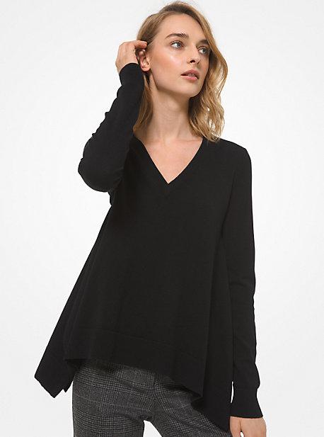 Michael Kors Women's Draped Cashmere V-neck Pullover Sweater In Black