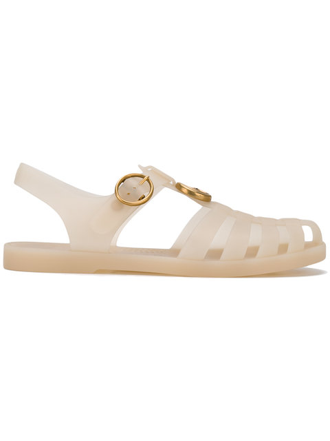 36cd12901 Gucci Logo And Tiger Jelly Sandal In Beige | ModeSens