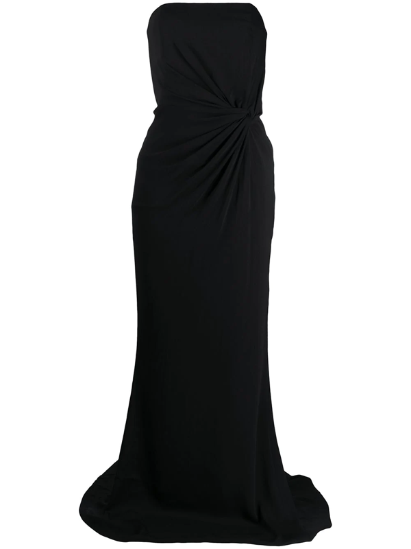 16arlington Fitted Twist-detail Gown In Black